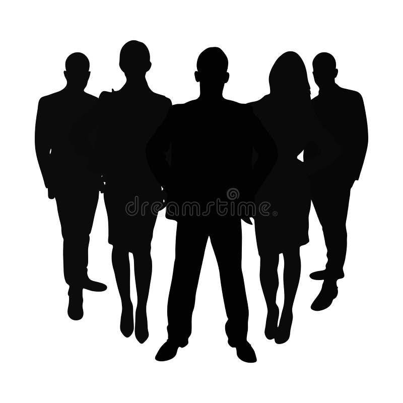Grupo de executivos como a silhueta ilustração stock