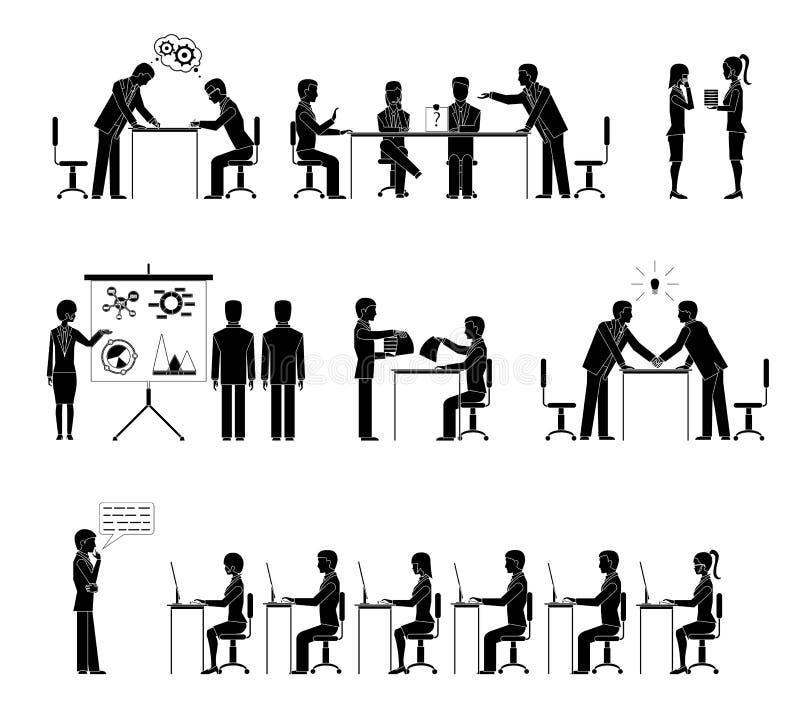 Grupo de executivos das silhuetas nas reuniões ilustração royalty free