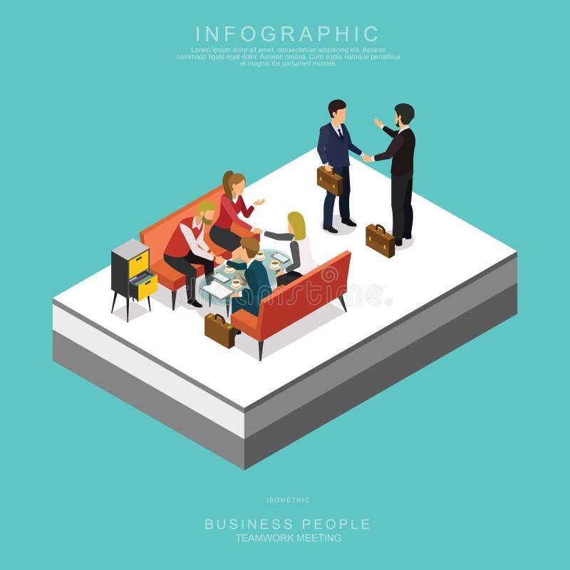 Grupo de executivos isométricos da reunião dos trabalhos de equipa no escritório C ajustado ilustração royalty free