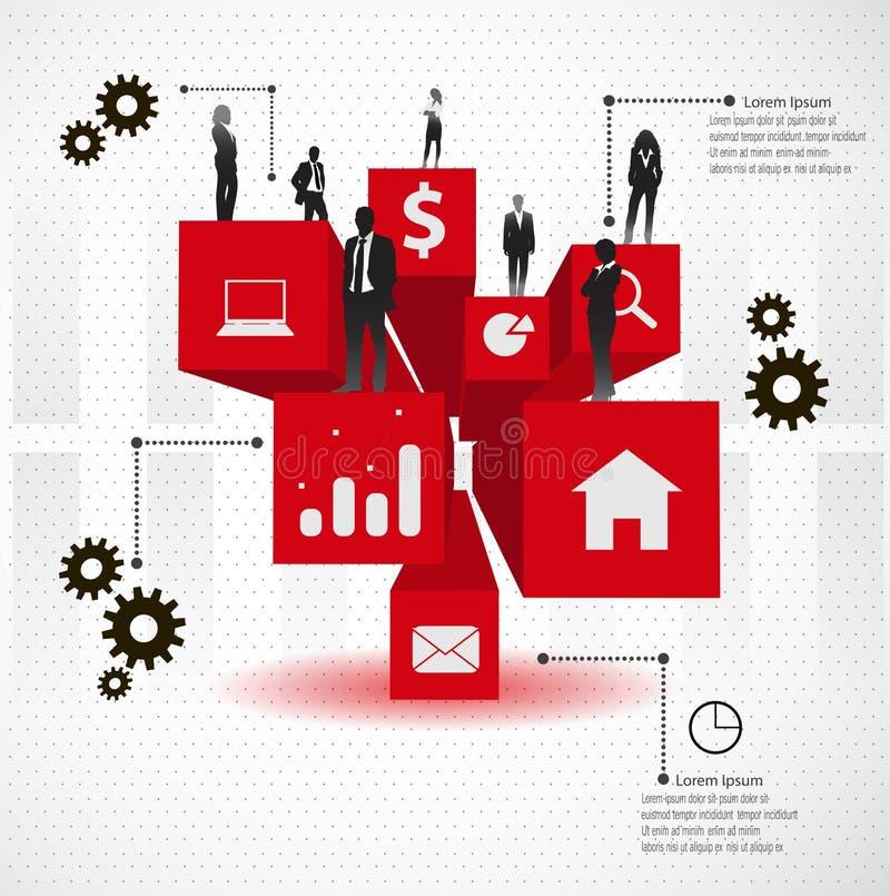 Grupo de executivos nos cubos 3d. ilustração royalty free