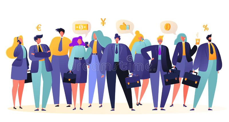 Grupo de executivos, posição dos trabalhadores de escritório junto Conceito dos trabalhos de equipa do negócio ilustração royalty free