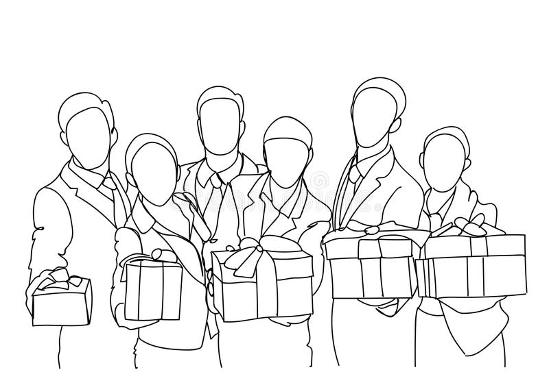 Grupo de executivos que guardam a garatuja tirada Team Award Concept Businesspeople Hand bem sucedida das caixas de presente ilustração royalty free
