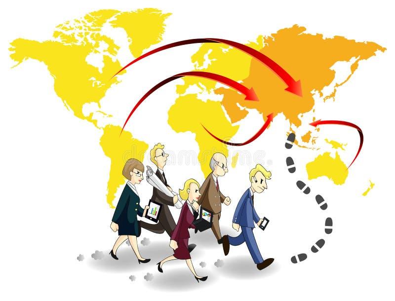 Grupo de executivos que procuram a possibilidade em Ásia ilustração do vetor