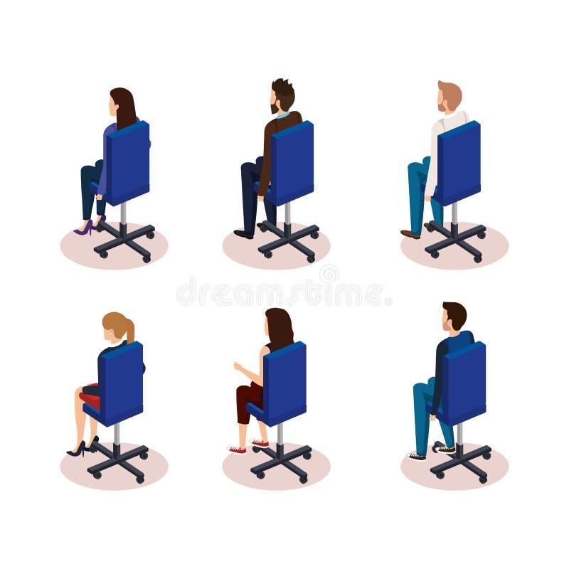 Grupo de executivos que sentam-se em cadeiras do escritório ilustração royalty free