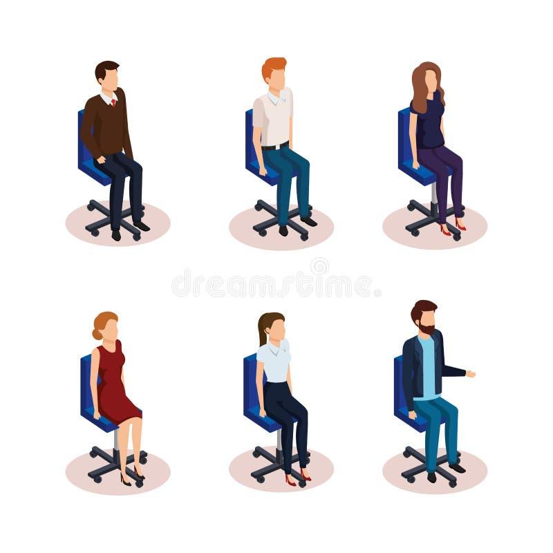 Grupo de executivos que sentam-se em cadeiras do escritório ilustração do vetor