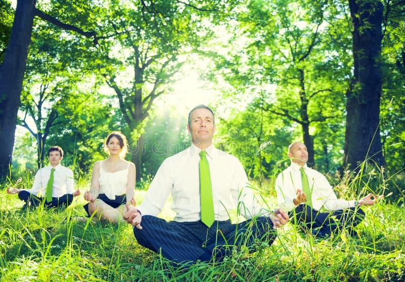 Grupo de executivos verdes meditar imagens de stock royalty free