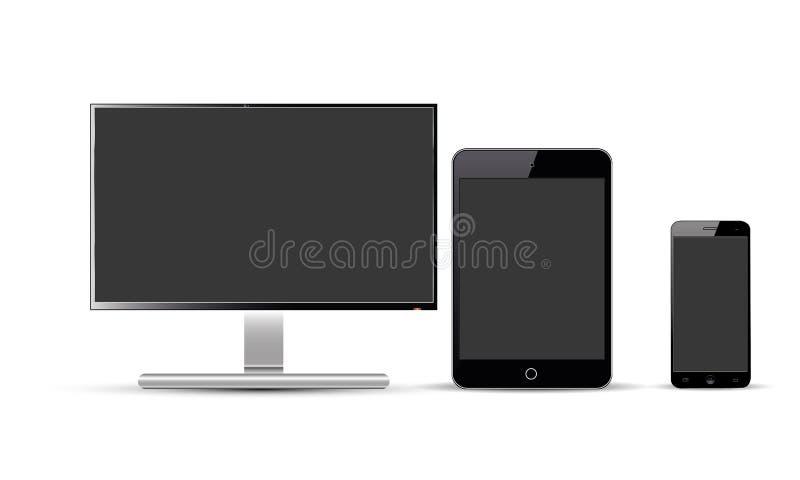 Grupo de exposição realística do monitor da tevê de Android Lcd da tabuleta de Ipad do telefone celular de Android do vetor ilustração do vetor
