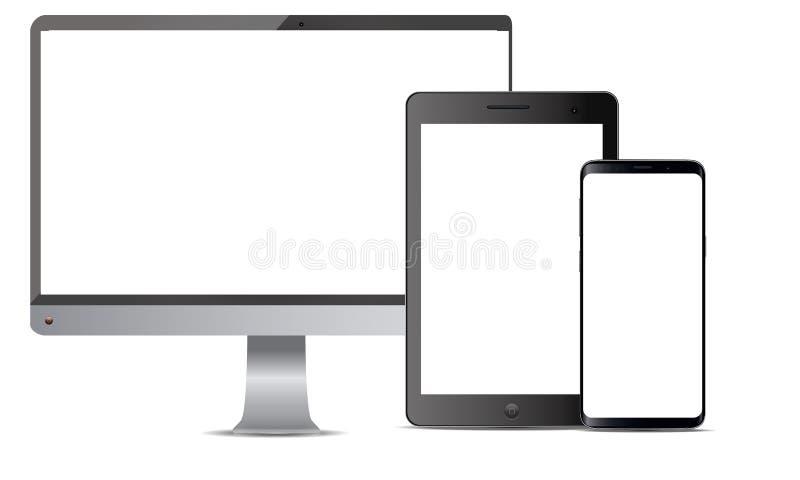 Grupo de exposição realística do monitor da tevê de Android Lcd da tabuleta de Ipad do telefone celular de Android do vetor ilustração stock