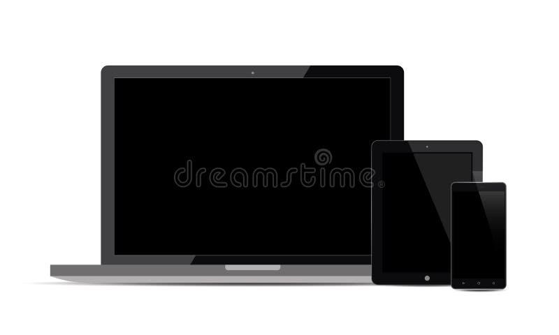 Grupo de exposição realística do monitor da tevê de Android Lcd da tabuleta de Ipad do telefone celular de Android do vetor ilustração royalty free