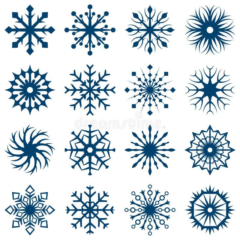Grupo de fôrmas do floco de neve ilustração do vetor