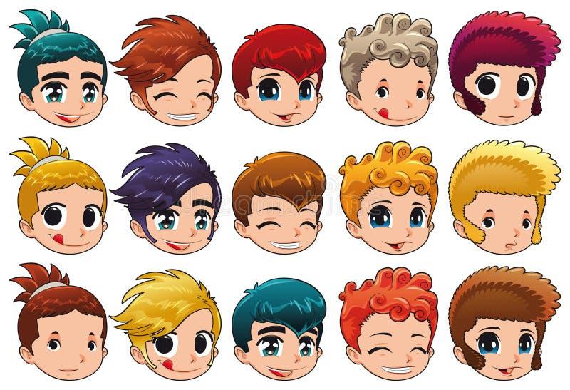 Grupo de faces com expressões diferentes e cabelo ilustração stock