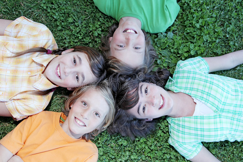 Grupo de faces de sorriso felizes fotos de stock royalty free