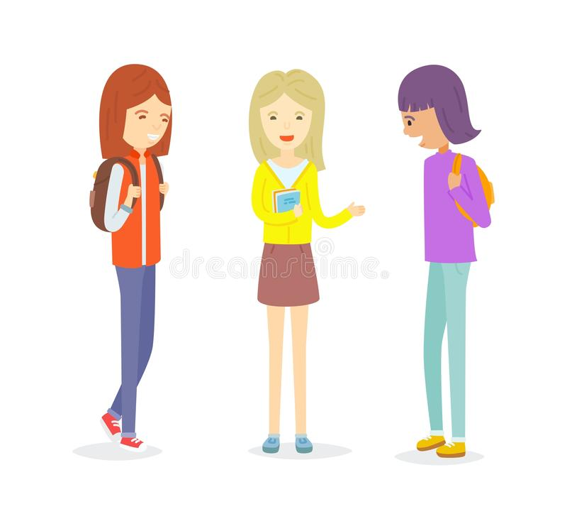 Grupo de fala adolescente da menina ilustração stock