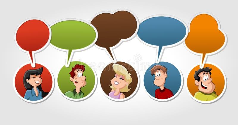 Grupo de fala dos povos dos desenhos animados ilustração royalty free
