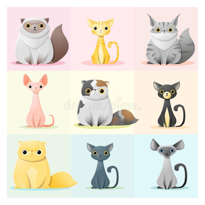 Grupo de família de gato ilustração royalty free
