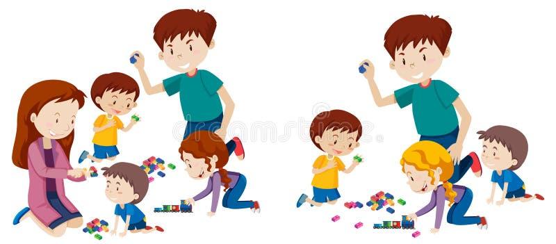 Grupo de família que joga com blocos ilustração do vetor