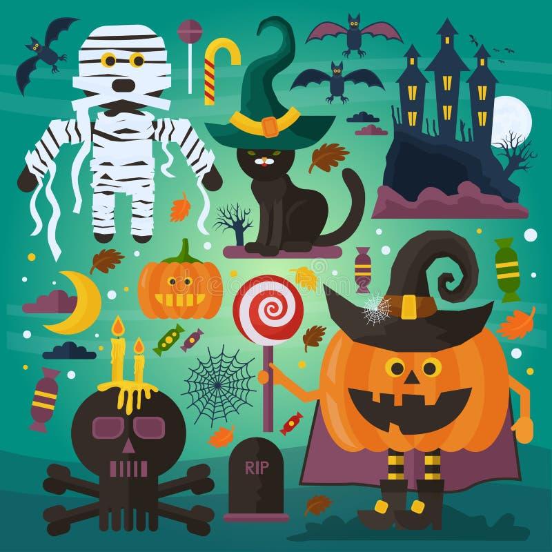 Grupo de fantasma bonito, de gato, de castelo, de scull, de abóbora com cabeça e outros caráteres assustadores, de elementos e de ilustração royalty free