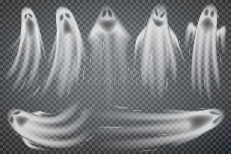 Grupo de fantasmas realísticos isolados no fundo transparente ilustração royalty free
