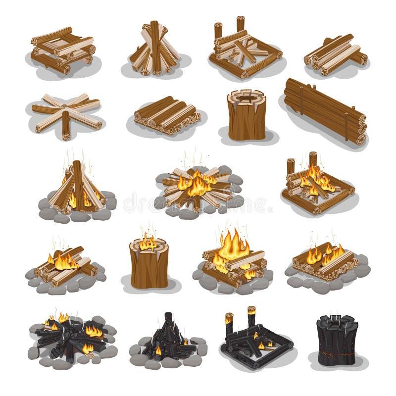 Grupo de fases da fogueira e da lenha isolado no branco ilustração royalty free