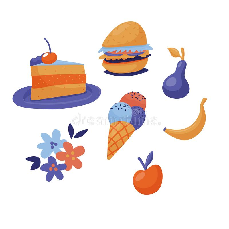 Grupo de fast food - bolo, hamburguer, gelado, fruto ilustração royalty free