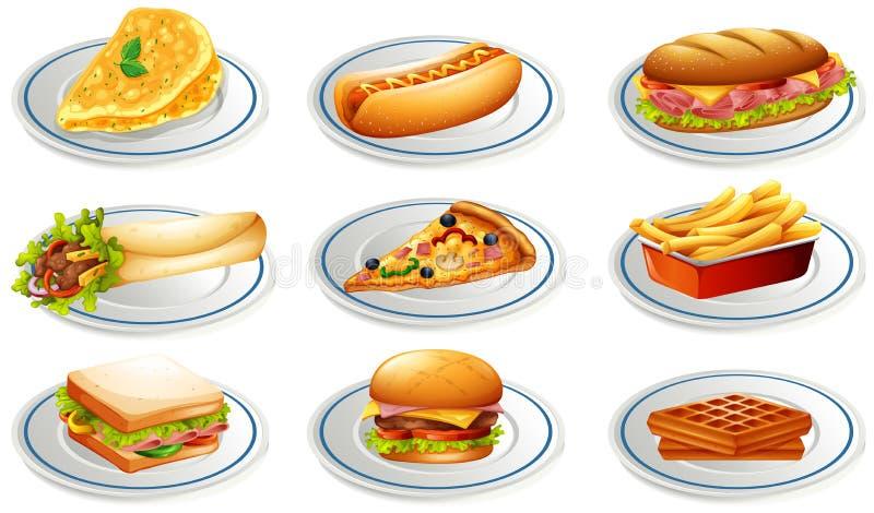 Grupo de fastfood em placas ilustração royalty free