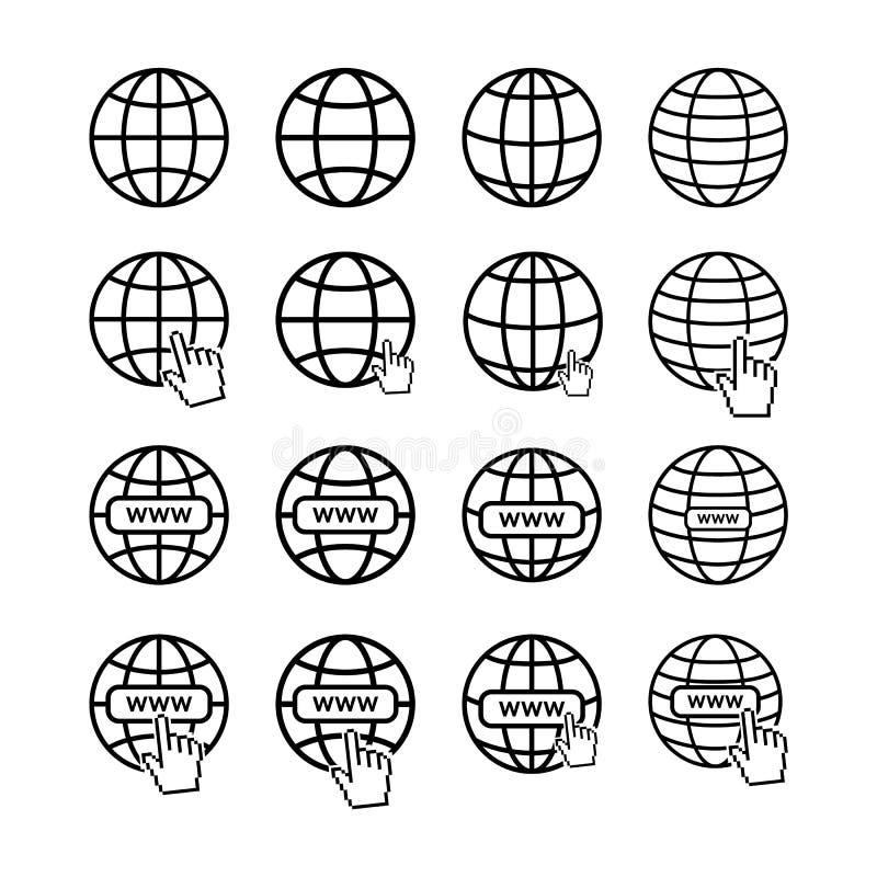 Grupo de favicons do Internet ilustração royalty free