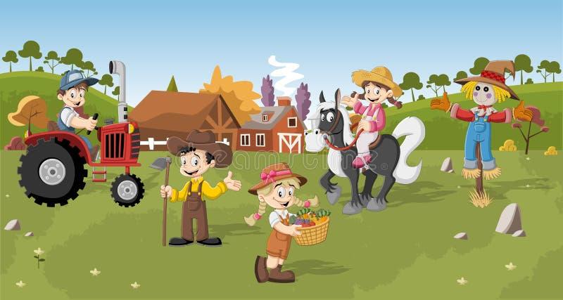 Grupo de fazendeiros dos desenhos animados ilustração royalty free