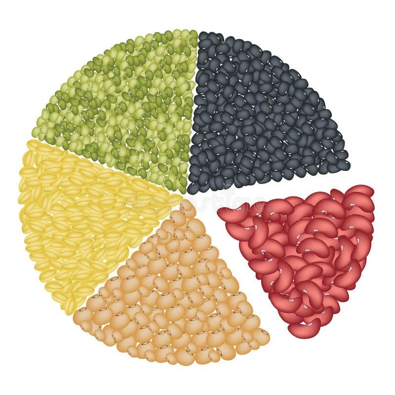 Grupo de feijões diferentes no conceito da carta de torta ilustração stock