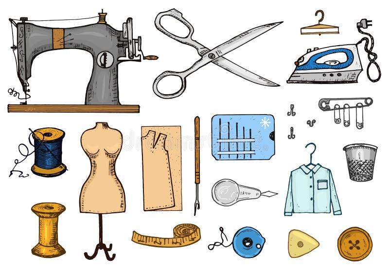Grupo de ferramentas da costura e materiais ou elementos para o bordado Equipamento feito a mão Loja do alfaiate para etiquetas,  ilustração royalty free