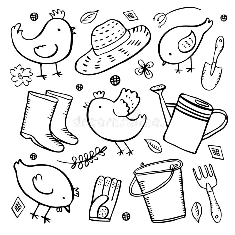 Grupo de ferramentas da jardinagem com galinhas dos desenhos animados Ilustração tirada mão do esboço do esboço do vetor ilustração royalty free
