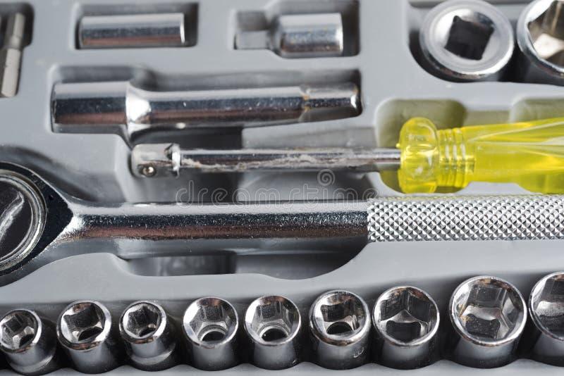 Grupo de ferramentas das cabeças em uma caixa fotografia de stock royalty free