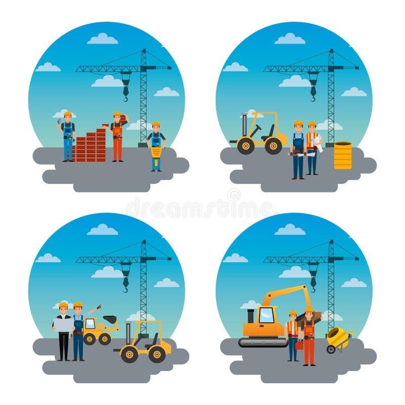 Grupo de ferramentas diferentes do trabalhador da construção e da maquinaria ilustração stock