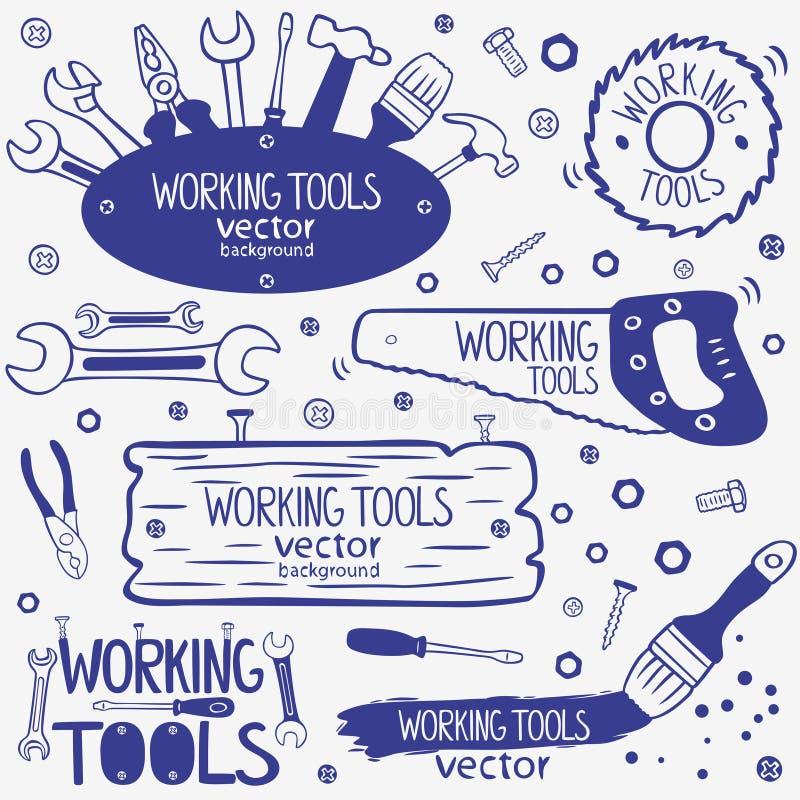 Grupo de ferramentas do funcionamento ilustração do vetor