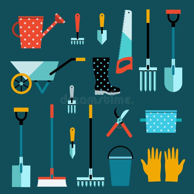 Grupo de ferramentas do jardim ilustração do vetor