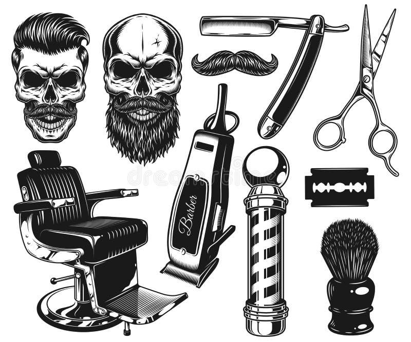 Grupo de ferramentas e de elementos monocromáticos do barbeiro do vintage ilustração do vetor