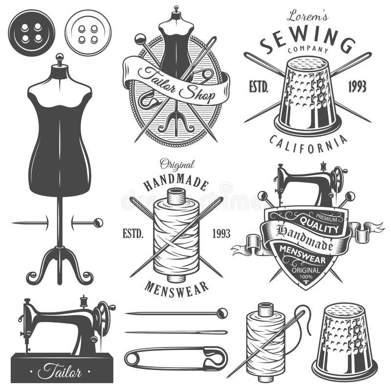 Grupo de ferramentas e de emblemas monocromáticos do alfaiate do vintage ilustração royalty free