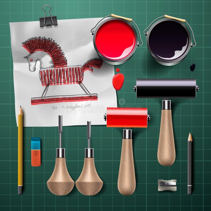 Grupo de ferramentas e de fontes para gravar ilustração stock