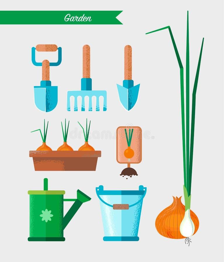Grupo de ferramentas de jardinagem do trabalho Equipamento para trabalhar no jardim ilustração stock