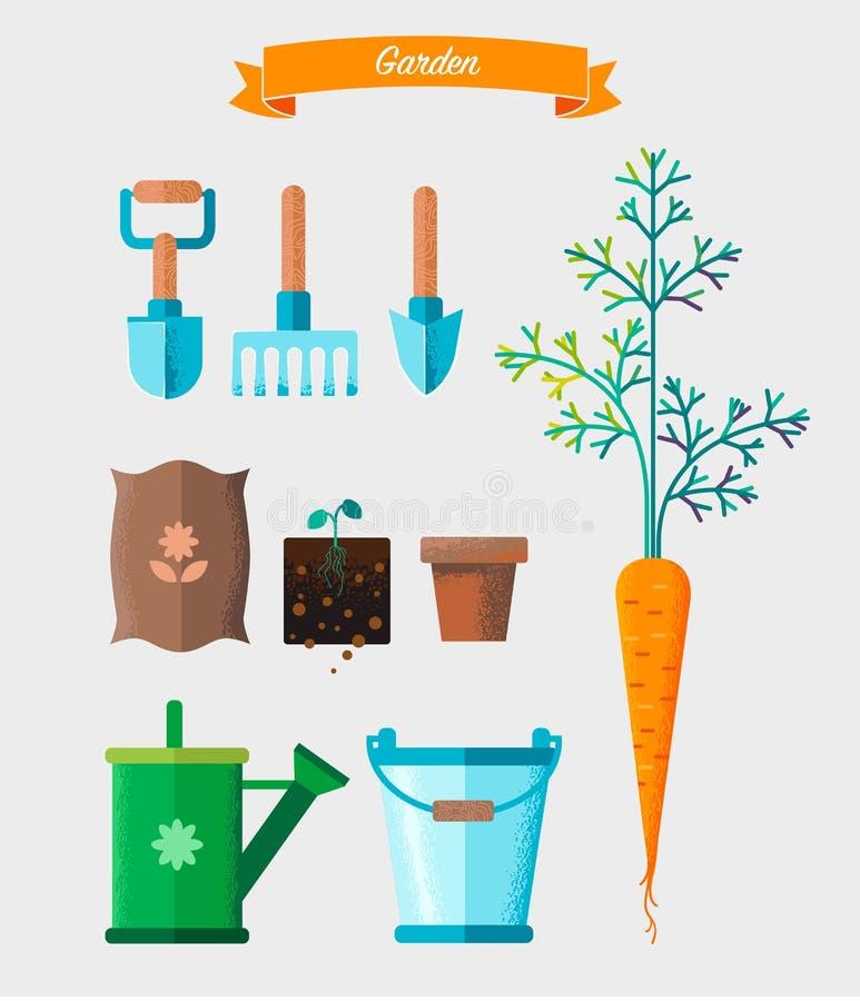 Grupo de ferramentas de jardinagem do trabalho Equipamento para trabalhar no jardim ilustração royalty free