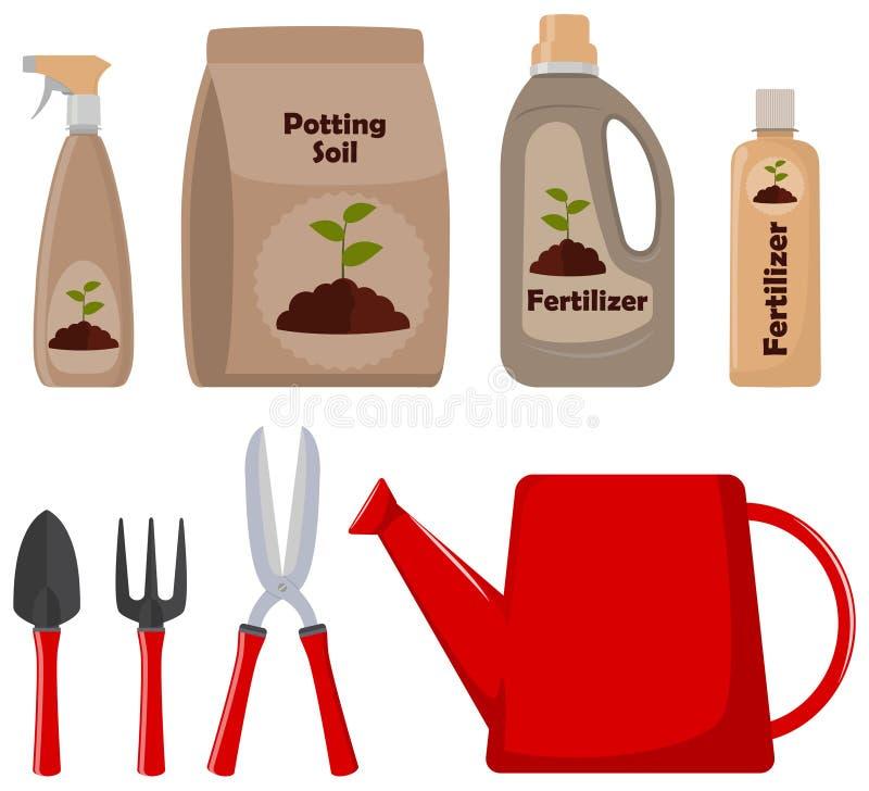 Grupo de ferramentas de jardinagem, de solo de potting, de vários adubos em umas garrafas e de arma de pulverizador Ilustração do ilustração royalty free