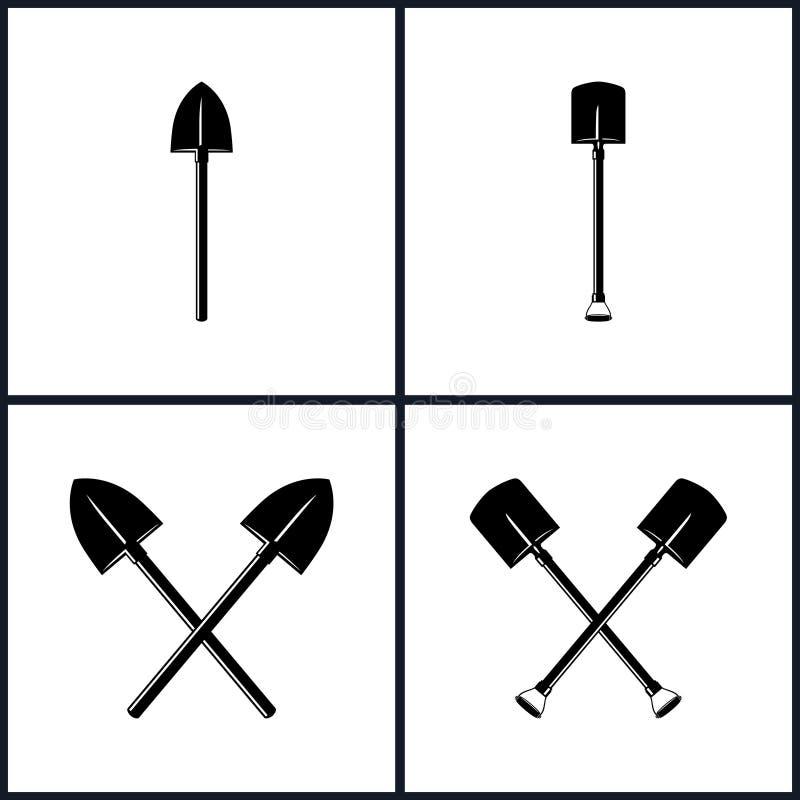 Grupo de ferramentas para a escavação ilustração royalty free