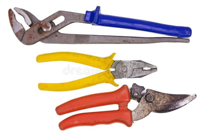 Grupo de ferramentas usado oxidado foto de stock