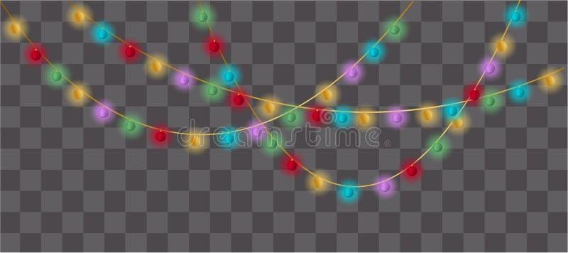 Grupo de festões multicoloridos das lâmpadas, decorações festivas ilustração royalty free