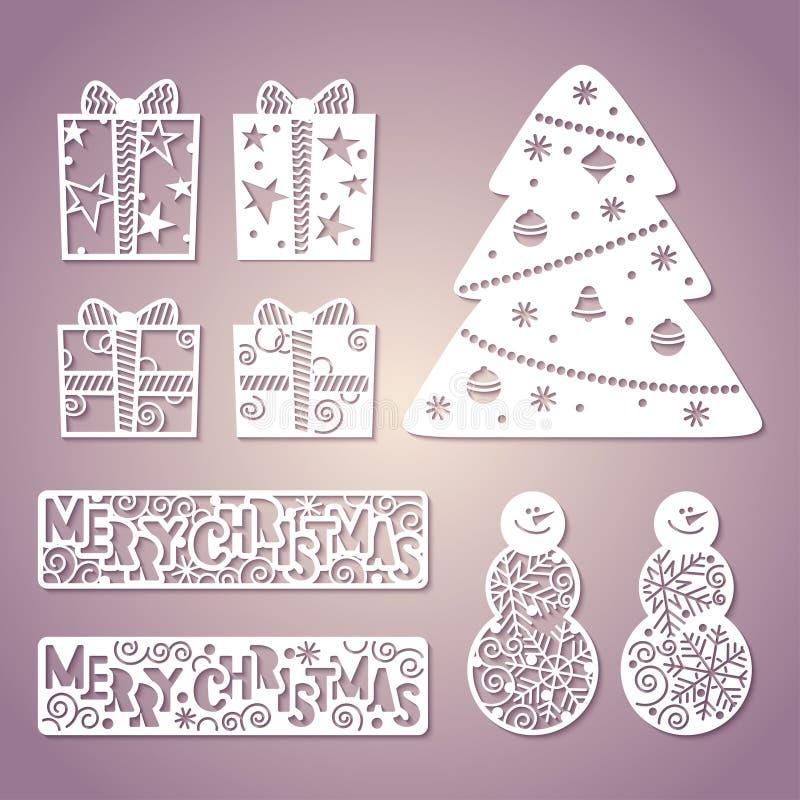 Grupo de figuras de papel a céu aberto Year& novo x27; decoração de s Laser que corta t ilustração stock