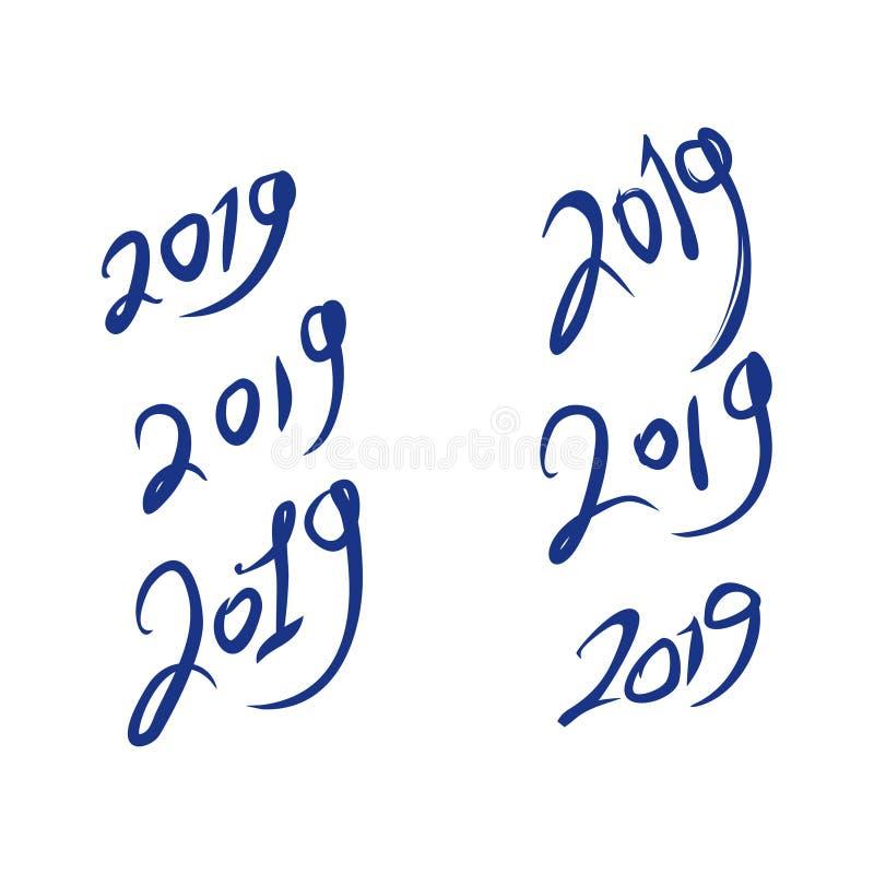 Grupo de figuras escritas à mão 2019 ilustração do vetor