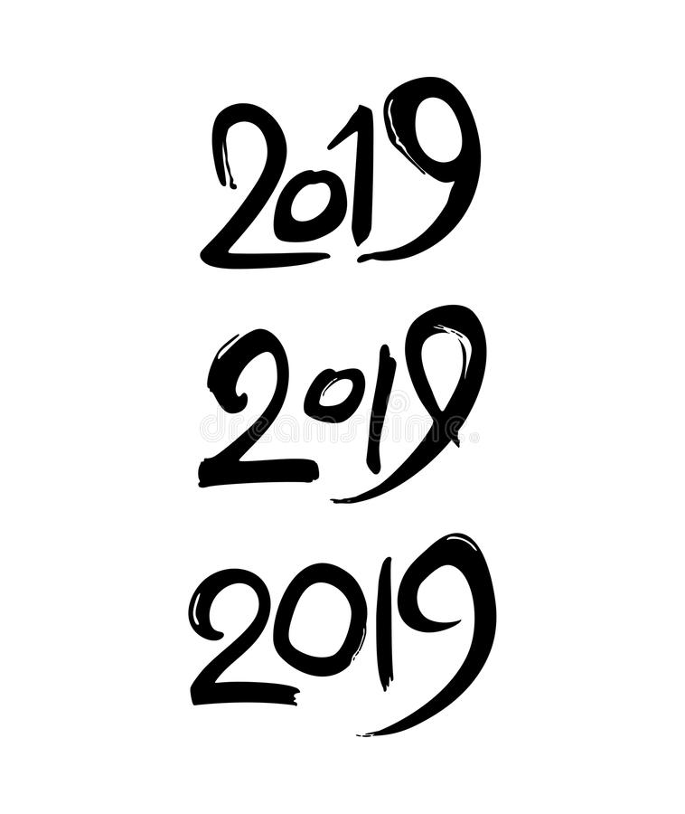 Grupo de figuras escritas à mão 2019 ilustração royalty free