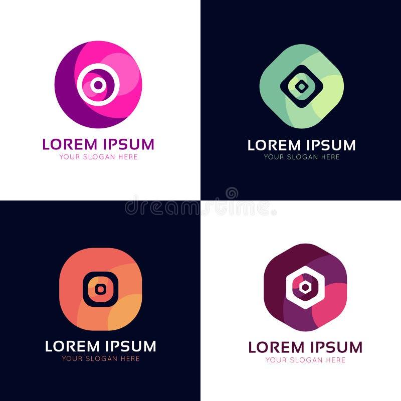 Grupo de figuras geométricas abstratas Sinais criativos do logotipo do vetor ilustração stock