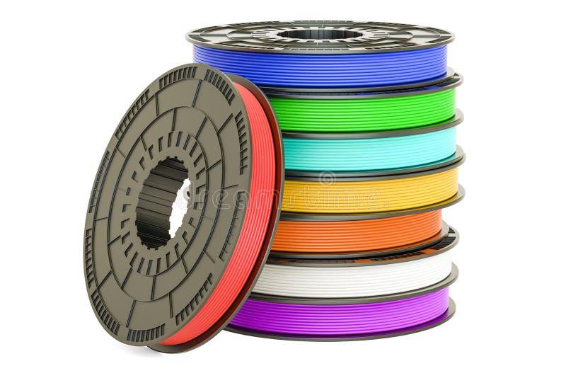 Grupo de filamentos coloridos da impressora 3D, ilustração 3D ilustração stock