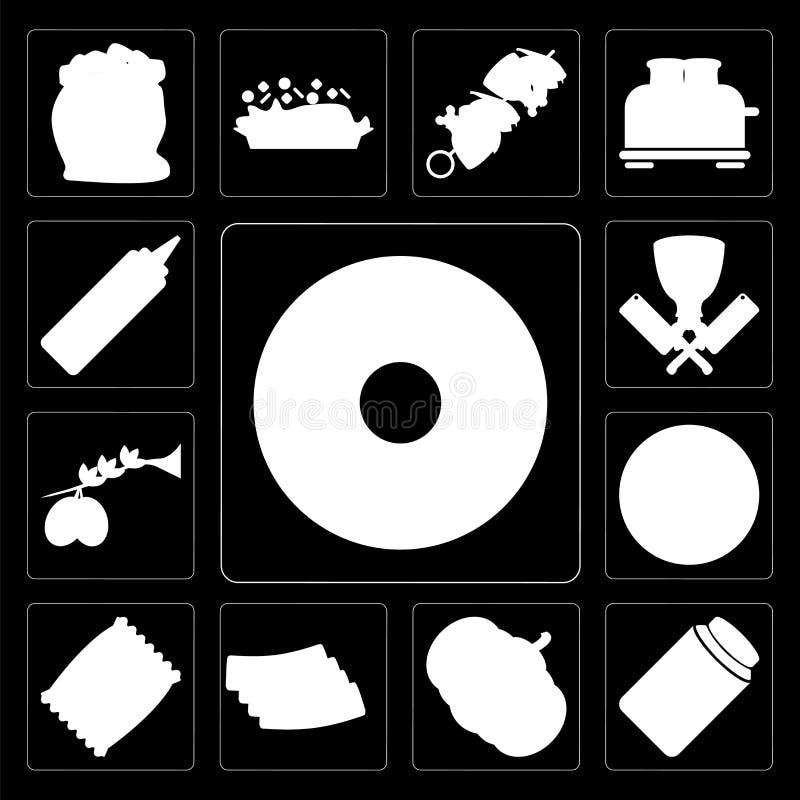 Grupo de filhós, mel, abóbora, bacon, microplaquetas, pizza, azeitonas, Bu ilustração stock