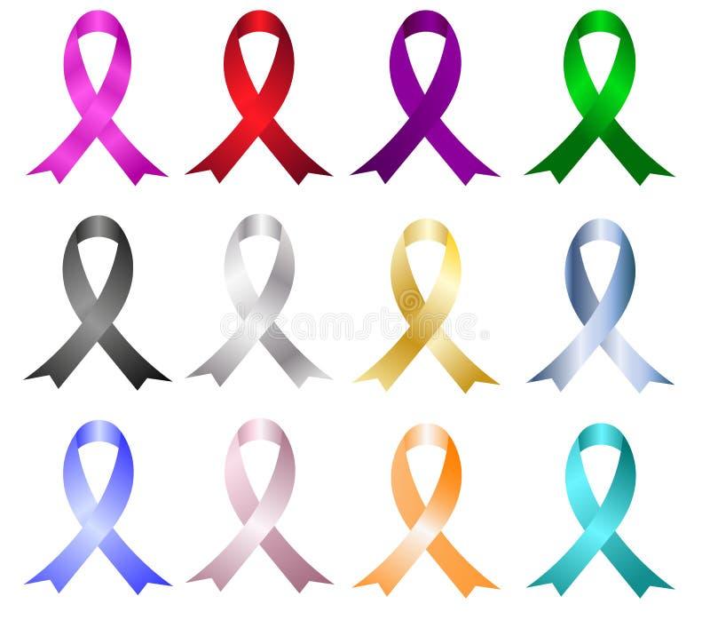 Grupo de fita da conscientização do SIDA Fita da conscientização do câncer da mama imagem de stock royalty free